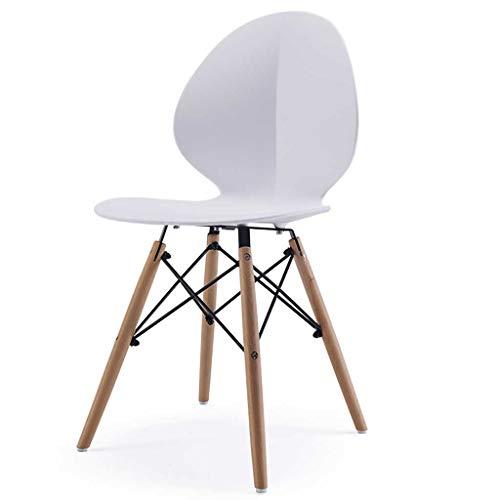 LINGZHIGAN Chaise de bureau élégante et simple en bois massif (Couleur : Blanc)