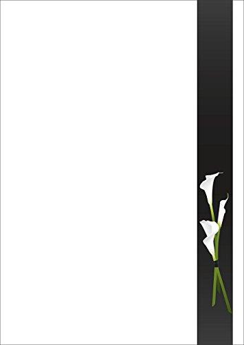 Briefpapier Trauer weiße Calla Motivpapier DIN A4 90 g/m² 50 Blatt - 5792