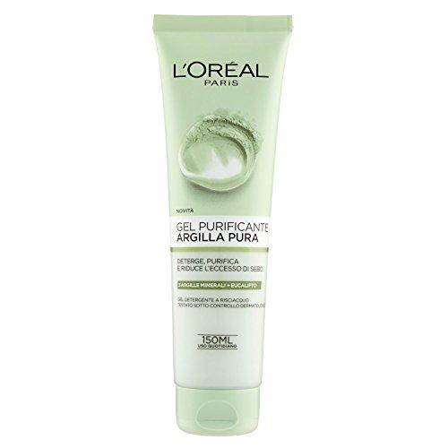 L'Oréal Paris Argilla Pura Gel Purificante Viso, Deterge, Purifica la Pelle e Riduce l'Eccesso di Sebo, 150 ml