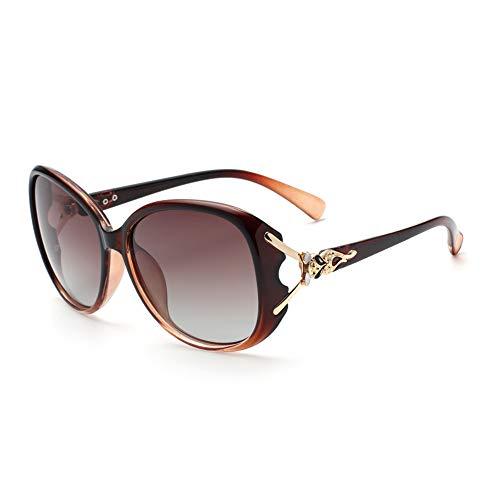 Empty Gafas de Sol, Gafas de Sol polarizadas para Mujer, Nueva versión Coreana de la Marca 2020 de Cara Redonda de Las Gafas Anti-UV,Naranja