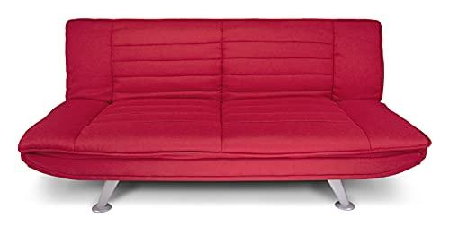 Divano letto clic clac in tessuto rosso - Divano 3 posti mod. Iris