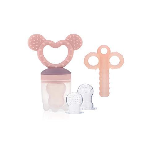 ZOSHING Baby Hippo Alimentador de Alimentos de Silicona/Alimentador de Frutas Chupetes/Mordedor de Dientes/Juguete de Dentición/Feeder Antiahogo, (Rosa)