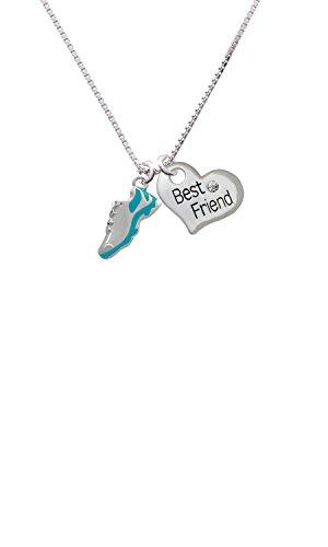 Cheer Bunny Running Shoe Teal - Best Friend Heart Necklace