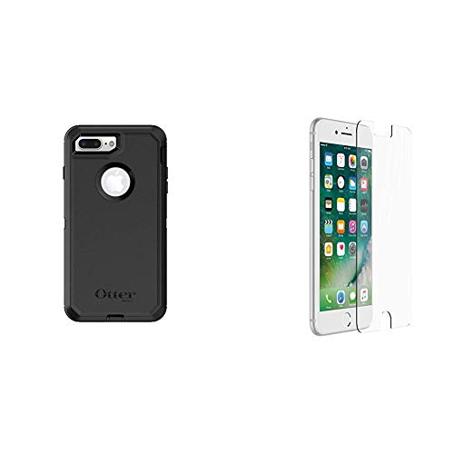OtterBox DEFENDER SERIES Case for iPhone 8 Plus & iPhone 7 Plus - Retail Packaging - BLACK & ALPHA GLASS SERIES Screen Protector for iPhone 6 Plus/6s Plus/7 Plus/8 Plus - Retail Packaging - CLEAR
