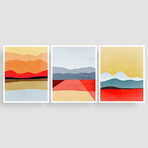 Red Abstract Wall Art Set of 3 Prints - Unframed