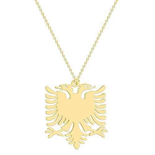 XIAOSO Albanien Adler Anhänger Halskette Wappen Doppeladler Halskette Ethnische Edelstahl Geschenke Für Frauen Männer (Gold-Color)