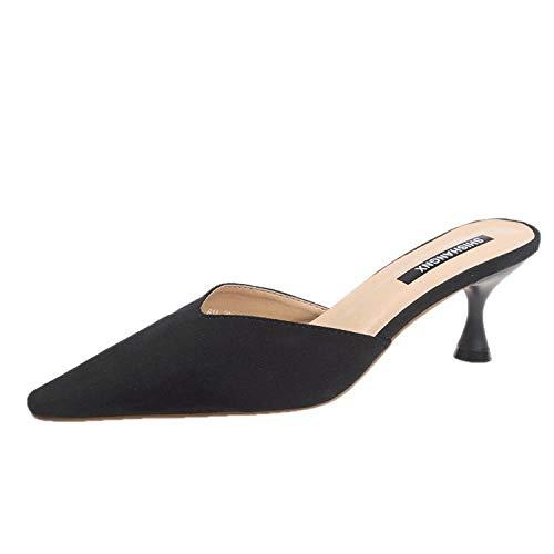 COQUI Zapatillas de Verano Case,Pantuflas Sandalias y Pantuflas de Mujer Primavera Nuevas Puntiagudas tacón de Aguja Medio Remolque-Negro_39