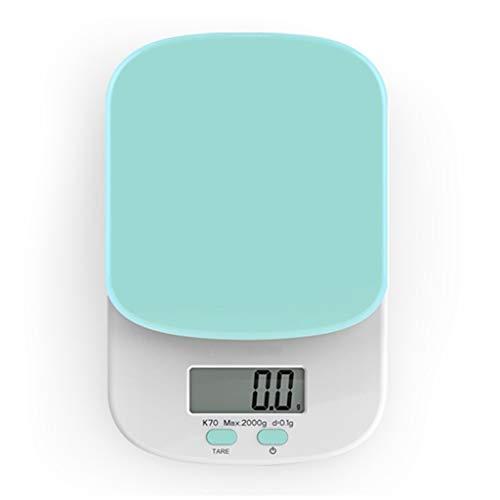 Escala electrónica de Alta precisión/Escala de Alimentos para cocinar en casa/fácil de Volver a Cero fácil de Mover (Color : Green)
