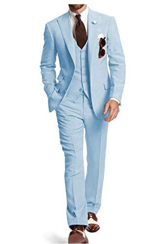 Traje de hombre de 3 piezas, formal, sólido, ajustado, diseño clásico, esmoquin para novios de boda (lazer+chaleco + pantalón) Azul azul claro Talla Modificado Para Requisitos Particulares