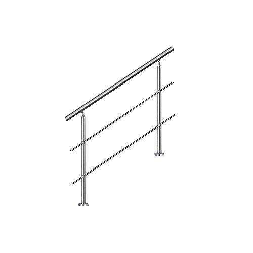 MCTECH® Geländer Edelstahl Handlauf 2 Pfosten mit 2 Querstreben für Treppen Balkon Brüstung (150 cm, 2 Querstreben)