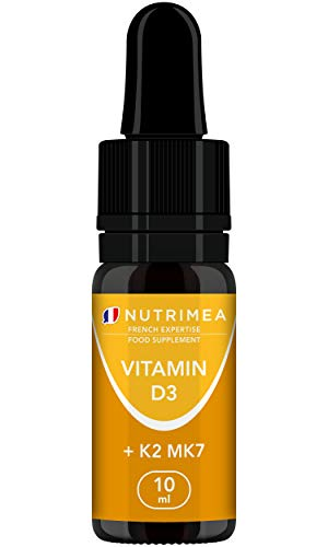 Vitamin D3 & K2 (MK7) Drops - 100% Pure and Vegan - Natural Origin with Organic Olive Oil - Strengthens The Immune System, Bones, Muscles and Teeth - Liquid Supplement - French Expertise