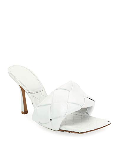 VETASTE Women's Square Open Toe Heeled Woven Leather Mule Sandals Stiletto Slip On Quilted High Heel Shoes White