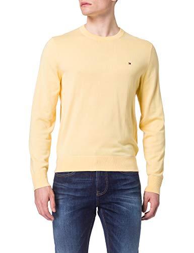 Tommy Hilfiger Organic Cotton Blend Crew Neck Maglione, Giallo Delicato, XL Uomo
