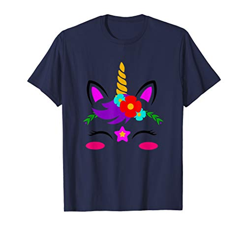 Magical Colorful Unicorn Face with Flowers, MbASSG T-Shirt