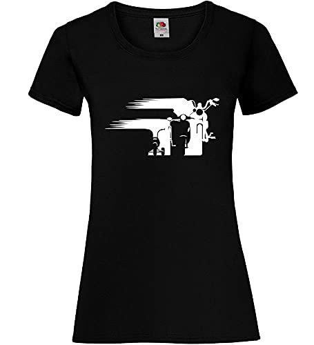 Shirt84.de - Camiseta para mujer con diseño de evolución de la cola Negro M