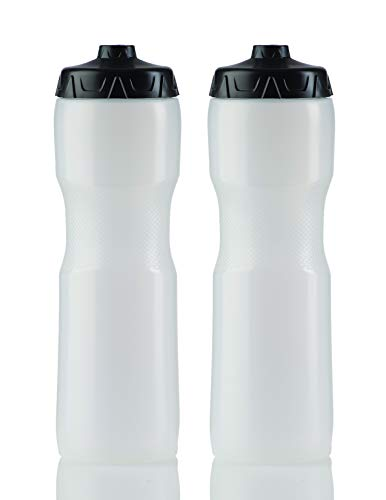 50 Strong Sports Squeeze Water Bottle with OneWay Valve  Two Pack  Set of 2 Leak Proof Squirt Waterbottles  28 Ounces  Perfect for Bike  Made in USA Clear