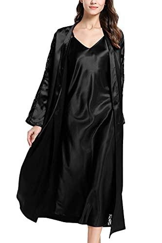 INSTO Juego de Pijamas de Camisón para Mujer de 2 Piezas, Mangas Largas de Encaje Kimono Bata Nighties Stetwear Ropa de Dormir Ropa Lencería Túnicas,Negro,L