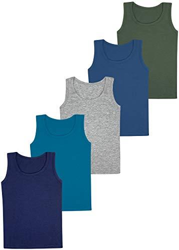 LOREZA ® 5 Jungen Unterhemden Baumwolle Tank Top - Basics (140-146 (10-11 Jahre), Modell 1-5er Pack)
