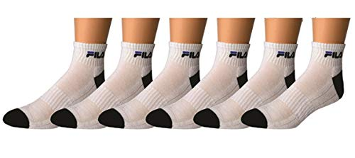 Fila Men's Socks for Sports and Fitness - Comfortable Low Cut Fit, 6 Pack Size 6-12 - White, Grey Heal and Toes