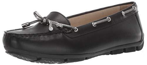 Geox Marva 7 Driving Moc Loafer Bootsschuh für Damen, Schwarz (schwarz/Silber), 37 EU