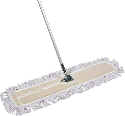 Tidy Tools 35 Inch Industrial Strength Cotton Dust Mop with Extendable Handle and Frame. 35'' X 5'' Wide Mop Head with Cut Ends - Hardwood Floor Broom