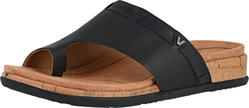 Vionic Women's Cindy Toe-Post Sandal - Ladies Sandals with Concealed Orthotic Arch Support Black 8 Medium US