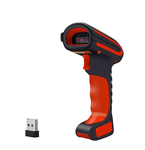 Alacrity Escáner de código de barras industrial 2D QR 1D con soporte, Bluetooth 2,4 GHz inalámbrico USB con cable 3 en 1, resistente al polvo, a los golpes, manos libres, escaneo de pantalla, 2020 dBS