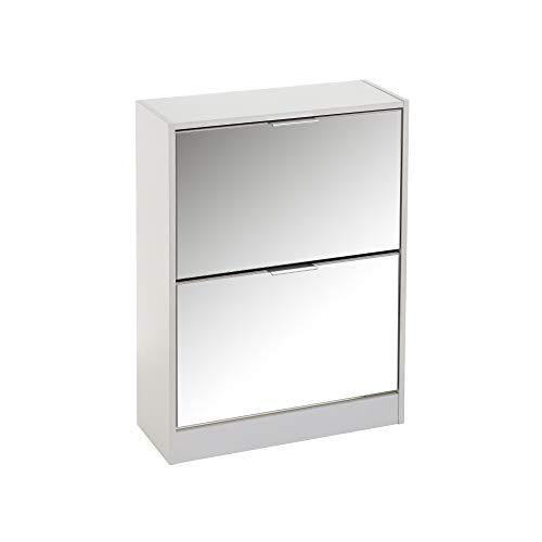 Zapatero Blanco de Madera MDF de 2 Puertas con Espejo de 80x24x60 cm - LOLAhome