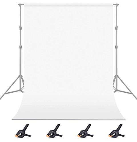 UTEBIT 6x9ft/1.8x2.8m White Photo Backdrop Photography Polyester Background Thicken Chromakey Cloth Collapsible for Photoshoot YouTube Video Studio Shooting(4 Clamps Included)