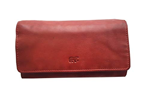 Set Leder Damen Geldbörse RFID, Portemonnaie Leder Vintage Look (16/9/3 cm) und Loop
