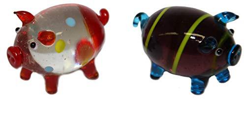 2 grandes cerditos coloridos en cristal – Tamaño 5,0 cm – Amuleto de la suerte para Nochevieja cumpleaños boda – WWW.VIENNAFASHION.at – de Viena – Vienna 296
