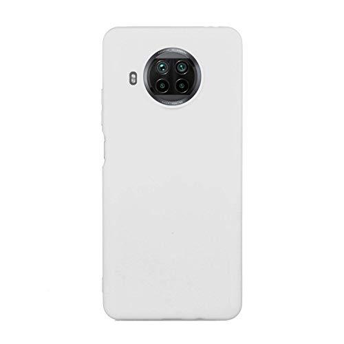 CUZZCASE Funda para Xiaomi Mi 10T Lite+{Protector de Pantalla de Vidrio Templado} Carcasa Silicona Suave Gel Rasguño y Resistente Teléfono Móvil Cover-Blanco