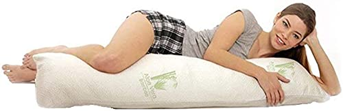 The Best Bamboo Body Pillow, Filled with Shredded Memory Foam, Bamboo Blended Cover, Cooling and Hypoallergenic, Aloe Vera Infused