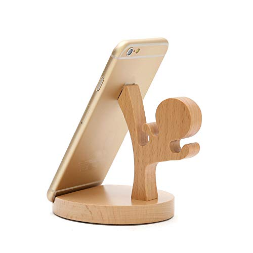Cute Cell Phone Stand with Small Bag, MHKBD Wooden Phone Stand Cool Guy Cell Phone Holder Desktop Cellphone Stand Universal Desk Stand for Universal Phone iPad, Useful for Watching Video, Karate