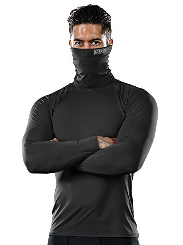 DRSKIN MASK Shirts Turtleneck Compression Top Cool Dry Sports Shirt Baselayer Running Long Sleeve Men (Turtleneck SB01, L) Control Uv Long Sleeve Top