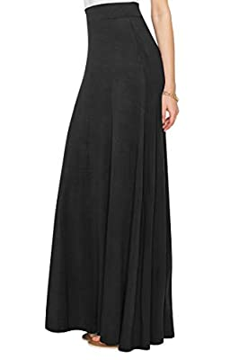 WDR1434 Womens Solid Maxi Skirt with Elastic Waist Band M BLACK