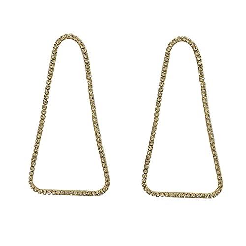 Hanone Pendientes de Mujer Electrochapados Estilo Largo Pendientes Colgantes de Diamantes de imitación completos Oro