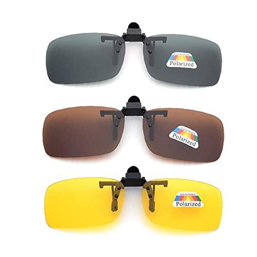 Fivesix Frame-Menos 3 PCS Unisex UV400 Lente polarizada rectángulo Lente tirón Encima del Clip en Gafas de Sol con Receta, Las Necesidades diarias