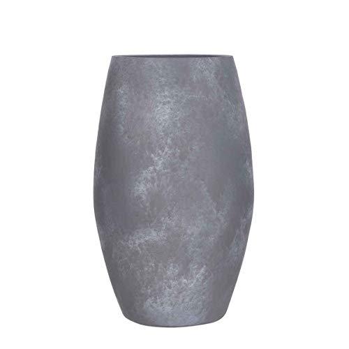 MICA Decorations Deko Vase Lester rund hellgrau Terrakotta - H 50 x Ø 30 cm - Bodenvase