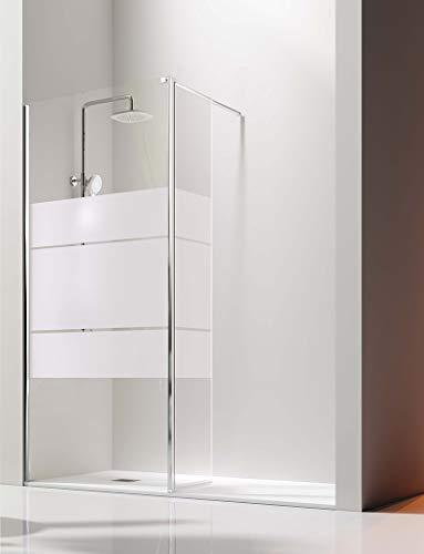 Mampara de Ducha Frontal- 1 Panel Fijo y 1 Puerta Abatible- Cristal de Seguridad de 6/8 mm - Modelo Giro Plata Brillo
