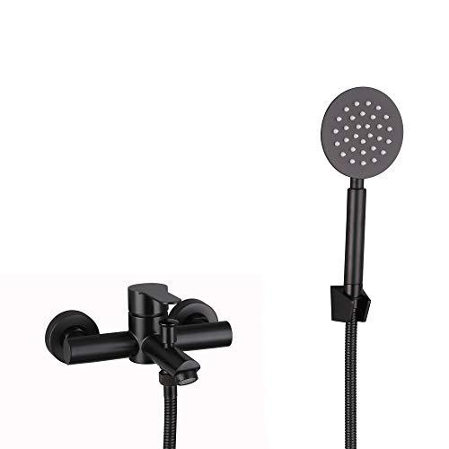HomeLava Grifo de bañera de acero inoxidable 304, grifo monomando para montaje en pared, grifo monomando con alcachofa de mano y manguera de ducha de 1,5 m, color negro