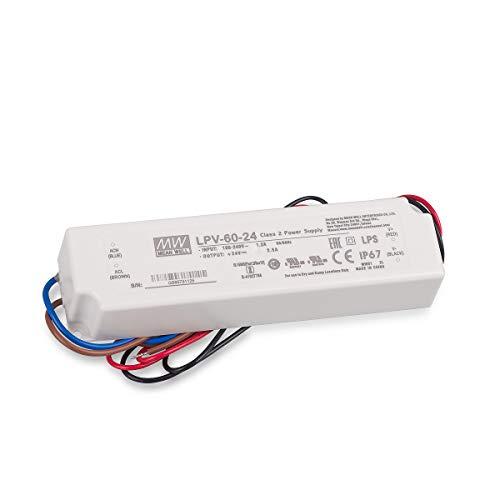 Mean Well LPV-60-24 fuente de alimentación de conmutación, 24V / 2.5A / 60W IP67