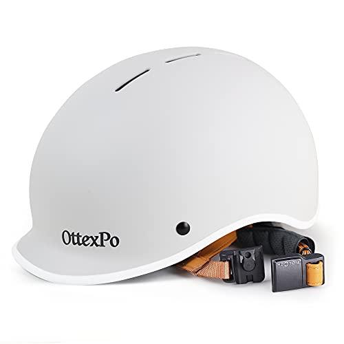 Bike Helmet - Adjustable Skateboard Helmet for Adult Women Men with Magnetic Buckle, Retro Bicycle Helmet Lightweight Cycling Helmet for Commuter, Rollerblading White - M