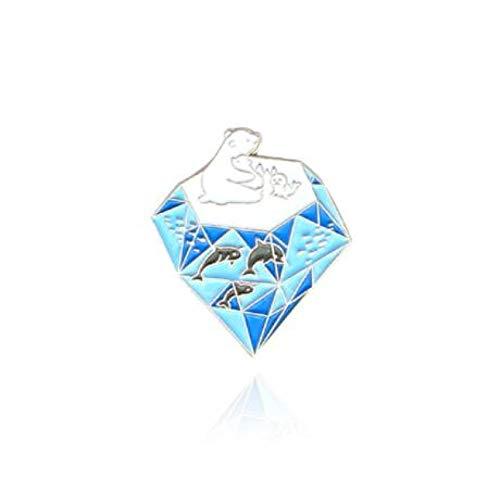 ice block Animal Polar bear Sea lion dolphin fish Lapel Pin Green forest bougainvillea cat Bags badge Style2