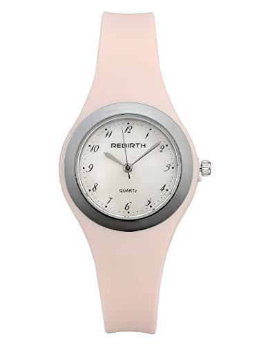 JSDDE Damen Armbanduhr Analog Quarz mit Silikon Uhrenarmband Muschel Weiß Zifferblatt Rosa