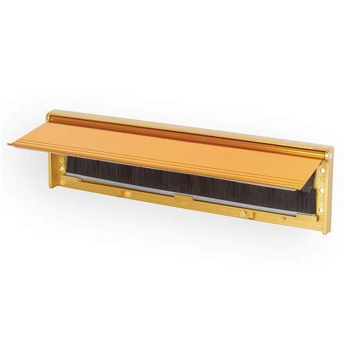 STORMGUARD 06SR0310000G Briefkastenabdeckung mit Pinsel und Klappe für den internen oder externen Gebrauch - Goldoberfläche, Außenmaß 293 x 75 mm (Innenöffnung 254 mm x 40 mm)