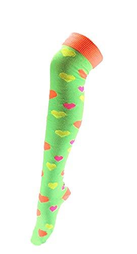 Dames Meisjes Fancy Jurk Halloween Party Over Knie Fluorescerende Neon Hart Print Sokken UK4-6 in 4 Kleuren