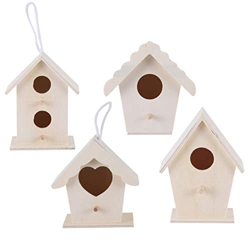 Exceart - Set di 4 nidi in legno da appendere per uccelli, decorazione da giardino o da tavolo, per decorazioni fai da te per foto, micro paesaggio (colore legno)