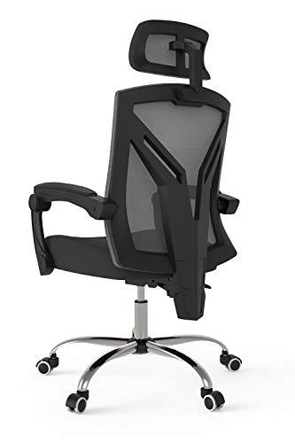 Hbada Bürostuhl ergonomischer Drehstuhl mit hoher Rückenlehne Schreibtischstuhl mit verstellbare Kopfstütze und Armlehnen Schwarz