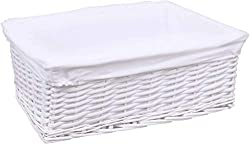 100% Wickerwith white matt finish Fabric protects contents. Removable,Washable white cloth lining Dimensions : W42.5cm x D32cm x H15.5cm approx The basket be used to organize the kids cupboards or other small clothing in your cupboards. The basket c...